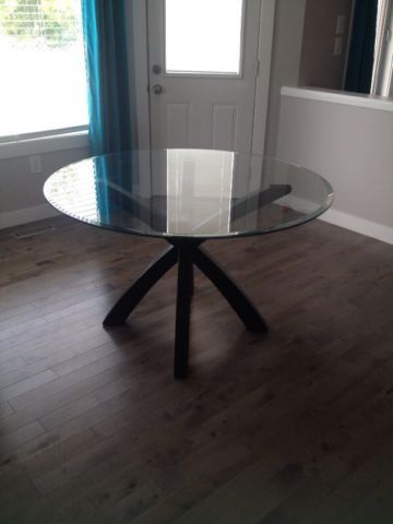 Stupendous Round Glass Dining Table Dining Tables And Sets Edmonton Creativecarmelina Interior Chair Design Creativecarmelinacom