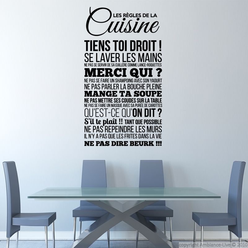Sticker les r gles de la cuisine stickers citations - Stickers meubles cuisine ...