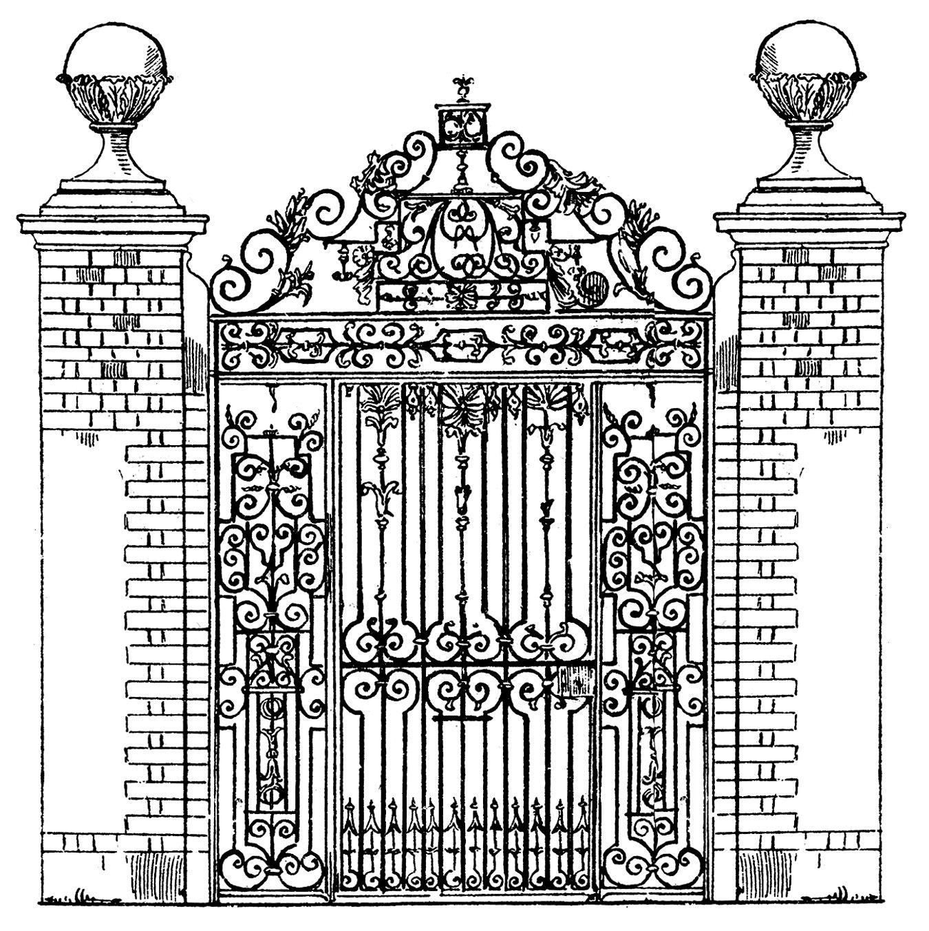 Vintage Clip Art Ornate Iron Gate Scrolls Clip Art Vintage