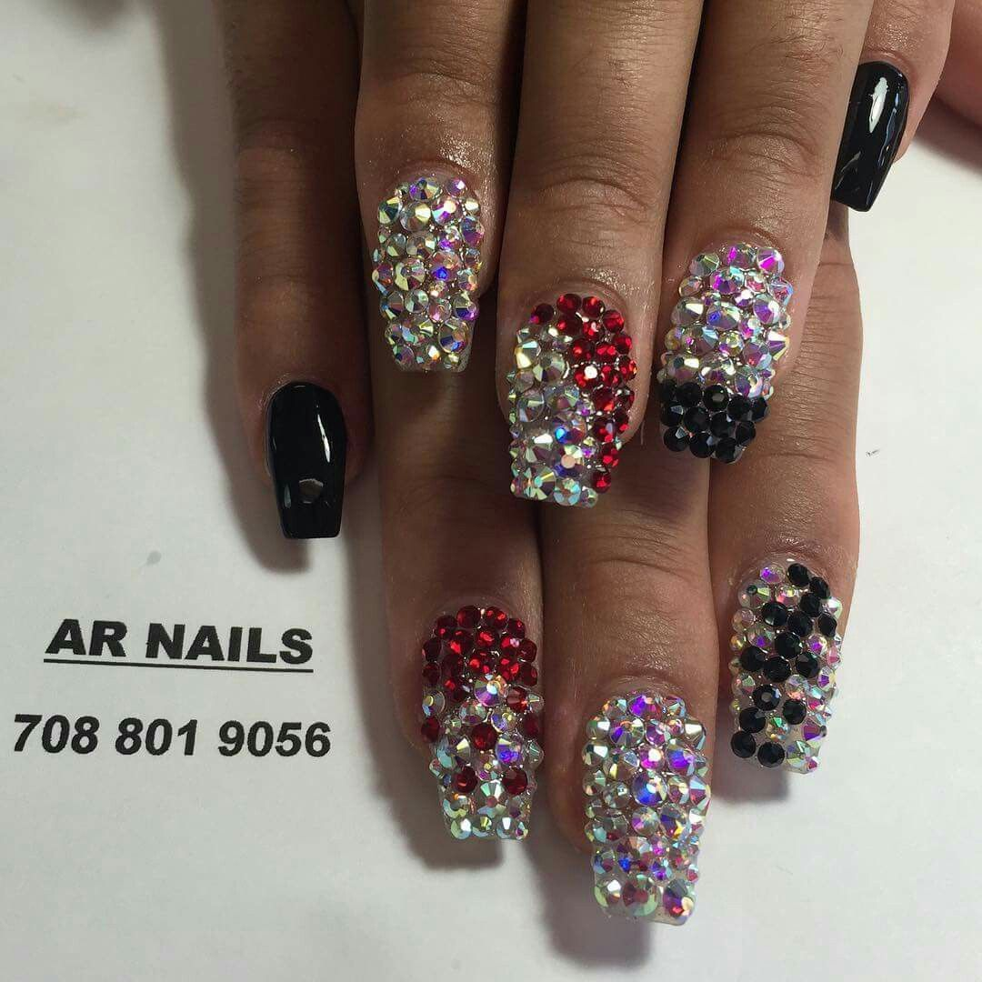 Bling Nails All Crystal Rhinestoned Nails Nailart Naillovers