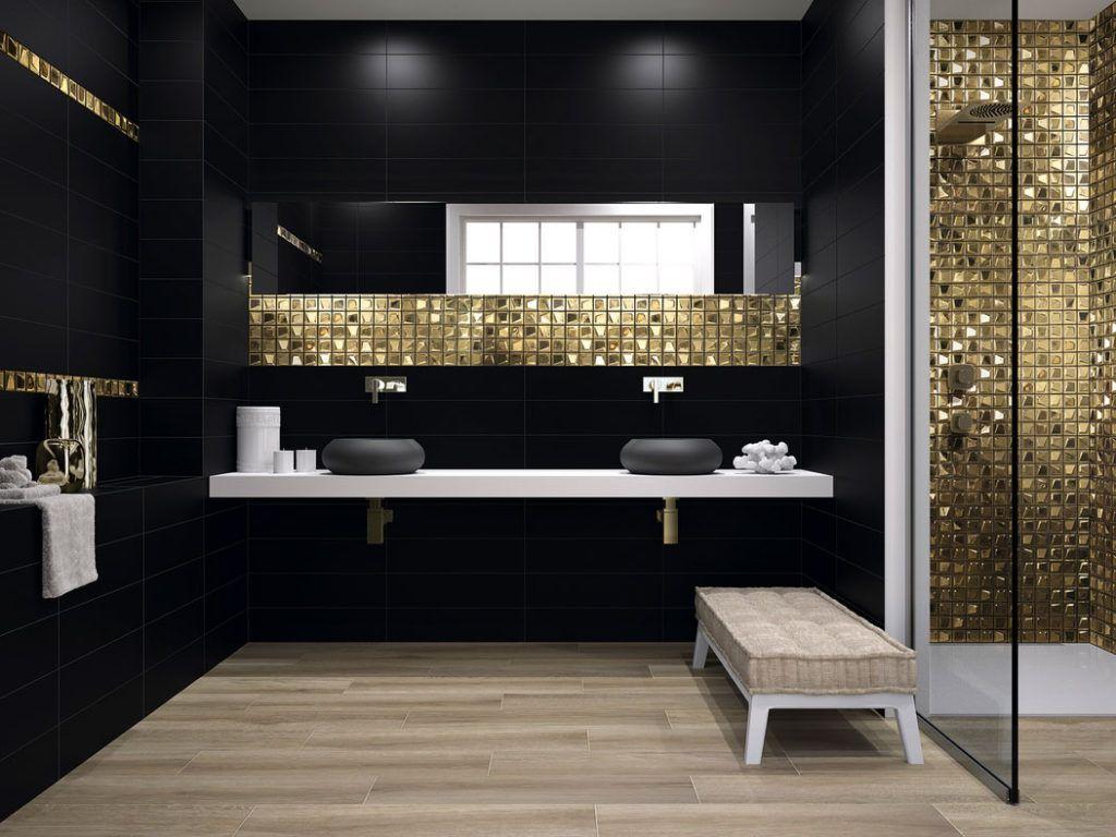 Badezimmer Schwarz Gold Badezimmer Schwarz Bad Gold Weiss Fliesen Kuche Im Dekorfolie Folie Ideen In 2020 Badezimmer Design Moderne Kleine Badezimmer Kleine Badezimmer