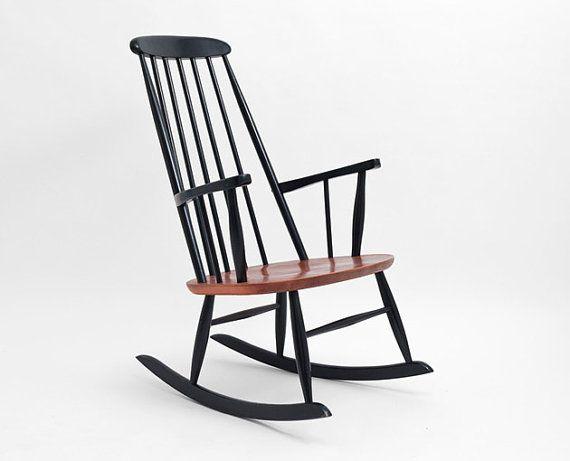 Ilmari tapiovaara rocking chair rocker mid century by for Schaukelstuhl tapiovaara