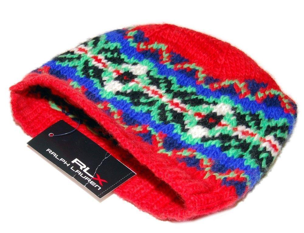 ac4f0ffb743 eBay  Sponsored Polo Ralph Lauren RLX Mens Womens Merino Wool Ski Skull  Knit Hat Cap Red Blue