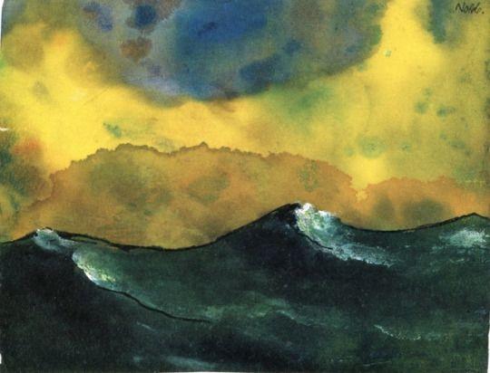 Landschaftsmalerei expressionismus nolde  Green Sea Emil Nolde 1938-1945   watercolor   Pinterest