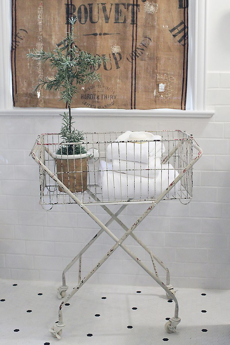 Vintage Style Wire Laundry Basket with Casters, Distressed White ...