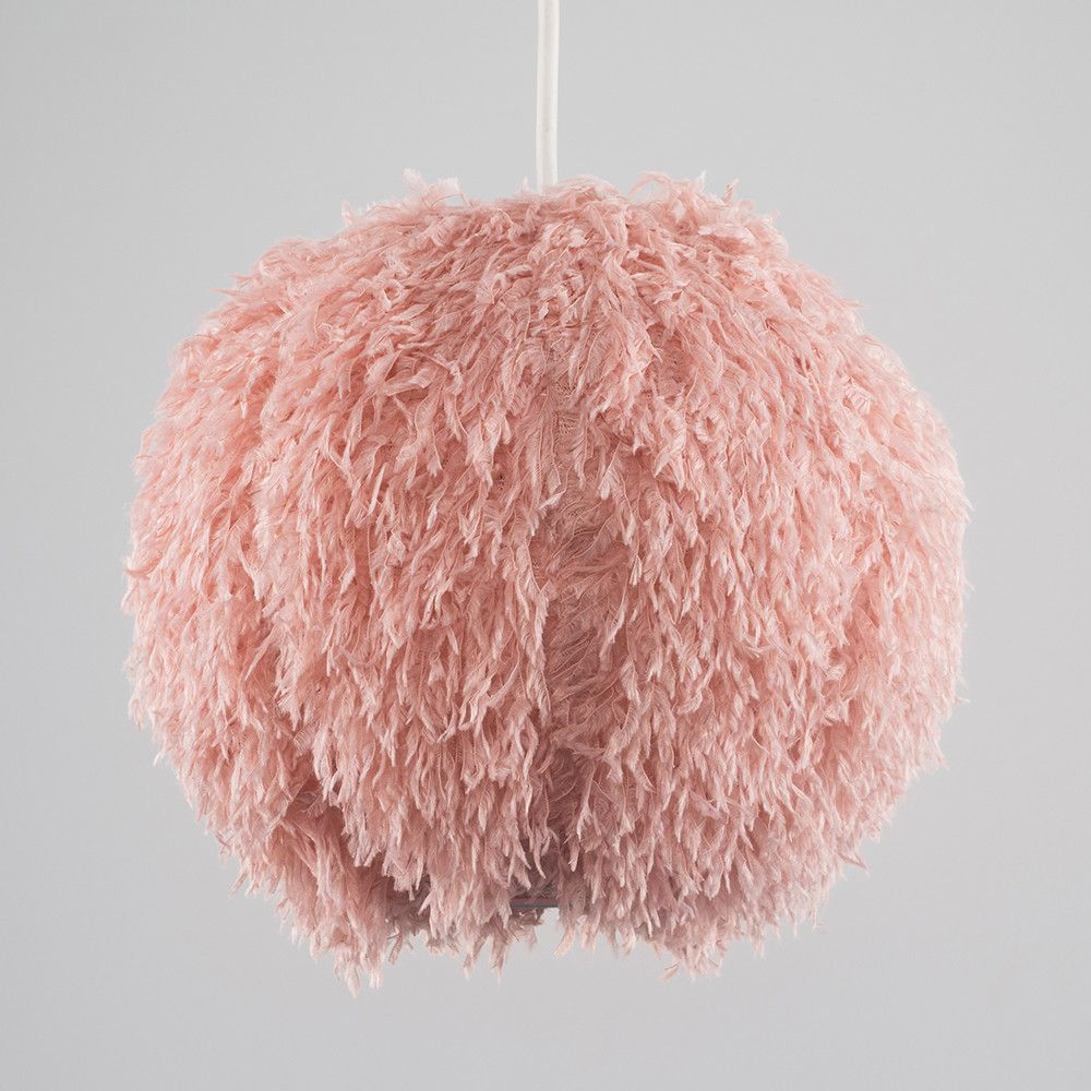 Cheyenne Faux Feather Pendant Shade In Pink Iconic Lights Glass Pendant Shades Sphere Lamp Metal Drum Shade