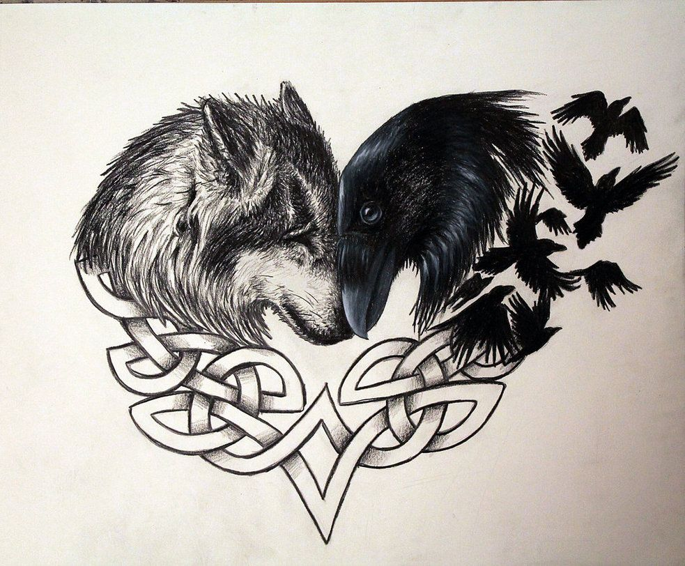 Wolf And Raven Forever By Artbyjpp On Deviantart Raven Tattoo Neck Tattoo Celtic Wolf Tattoo