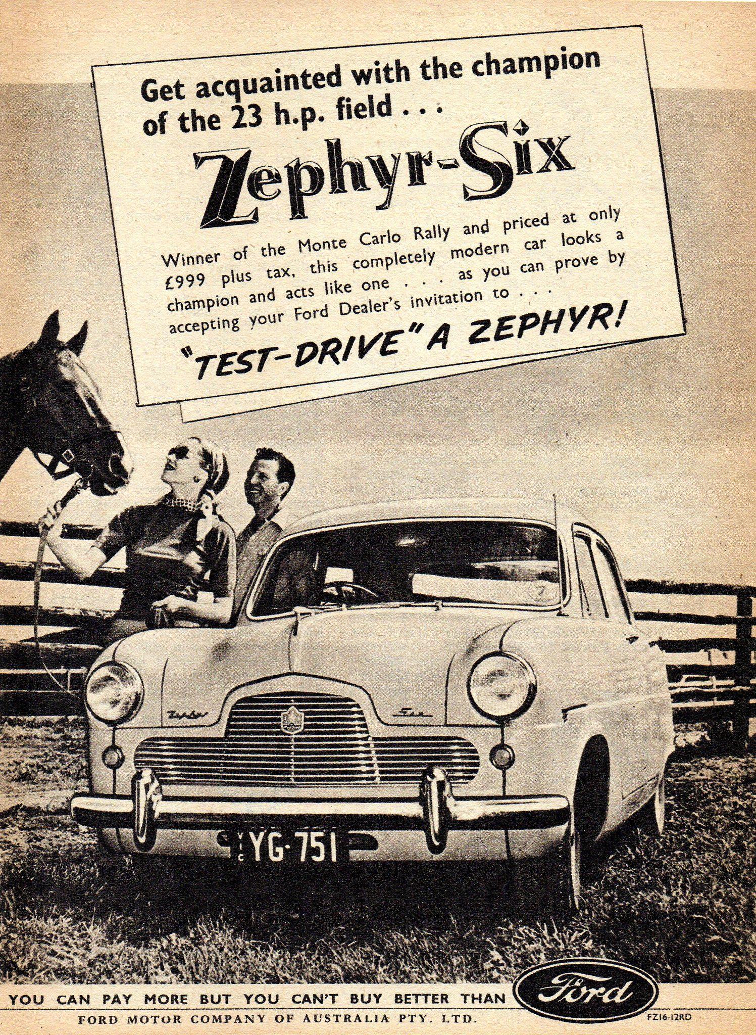 1954 Ford Zephyr Six Mark I Aussie Advertsement Ford Zephyr