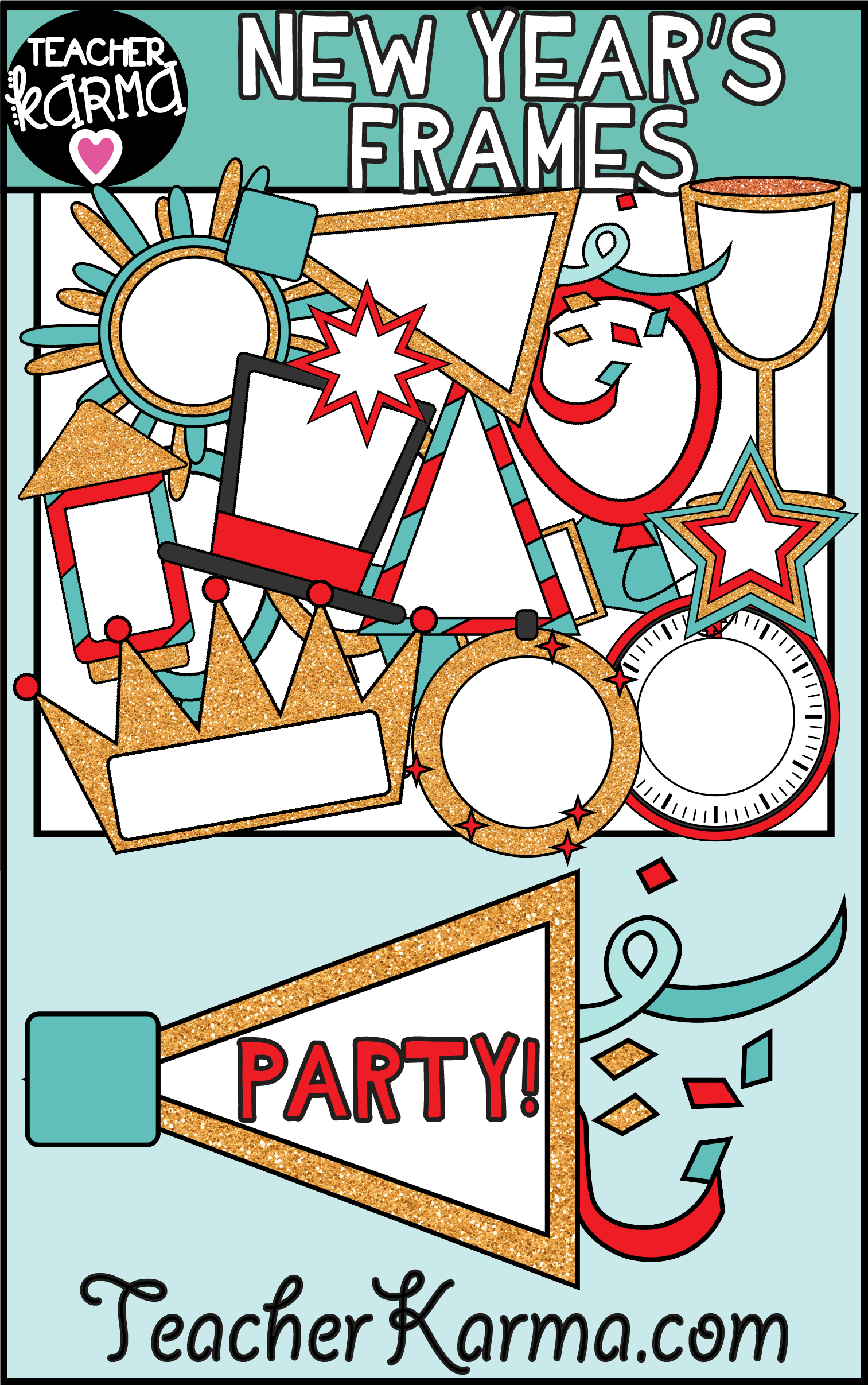 new year s eve clipart frames are perfect for teachers to create their own classroom resources or [ 1513 x 2413 Pixel ]