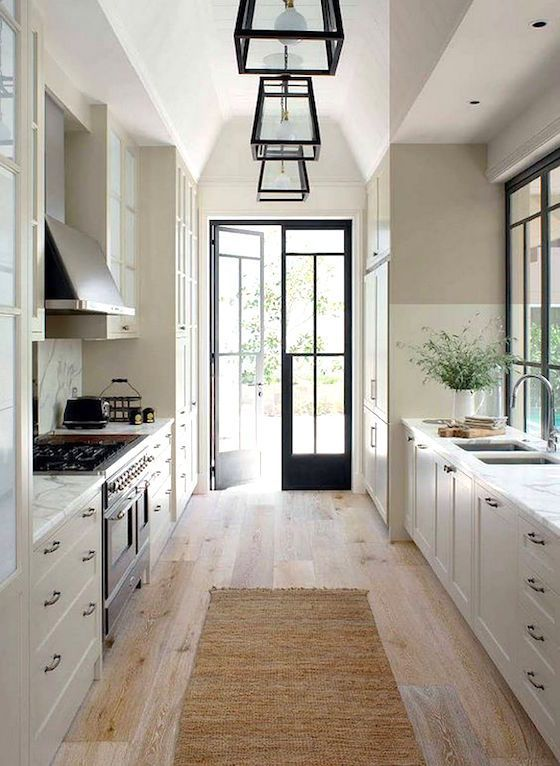 pretty and functional galley kitchen  interior design