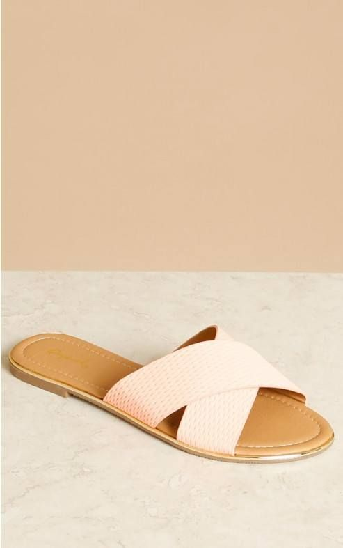 e8a61f78ca2 QUPID FAUX LEATHER PERFORATED CRISS CROSS SLIDES
