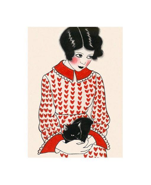 Art de chat  Betty et son chaton noir 4  X 6  par matouenpeluche