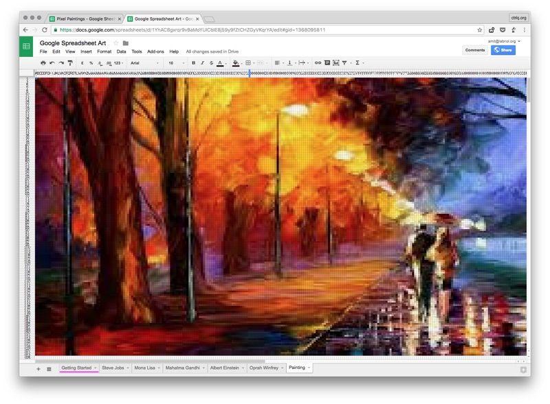 Riprodurre famosi dipinti in pixel con Google Spreadsheet pensare