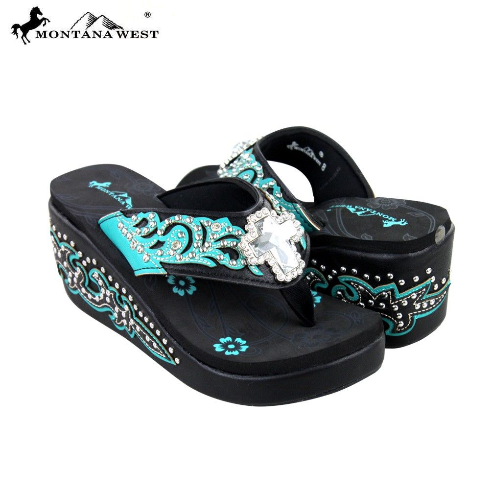 8ef446b38 SEH05-S008 Montana West Boot Scroll Platform Flip-Flops Collection BY CASE  - Flip Flops - Shoes