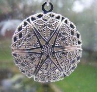 (0021) Fine Filigree SILVER Locket Pendant Necklace  FREE P&P with PAYPAL  www.nettysnicknacks.co.uk