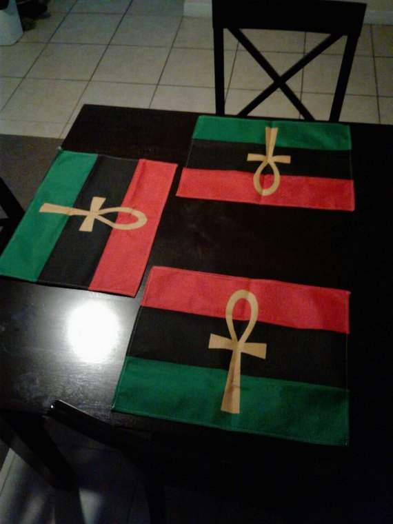 Rbg Ankh Place Mat Dinning Table Flag Pan African Placemat Etsy In 2020 Table Flag Pan African Flag Placemats