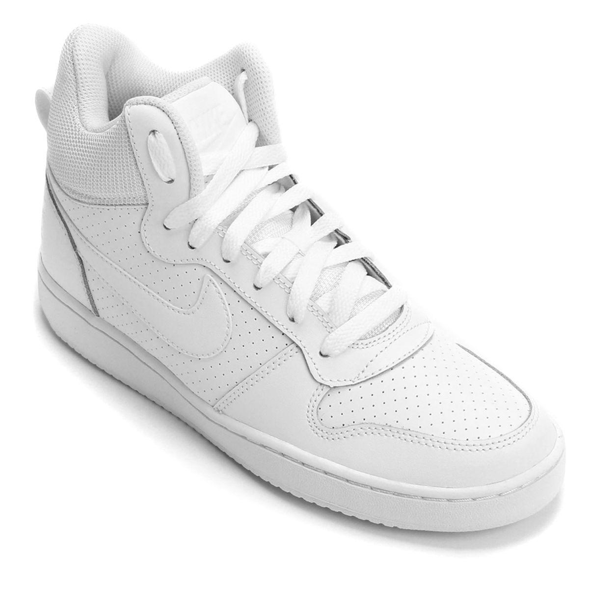 Tênis Couro Cano Alto Nike Recreation Mid Feminino - Branco ... 839b905a6ee0c