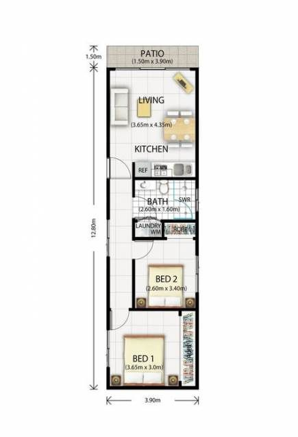 Super Living Room Layout Narrow Kitchens 28 Ideas Narrow House Plans House Plans Tiny House Floor Plans