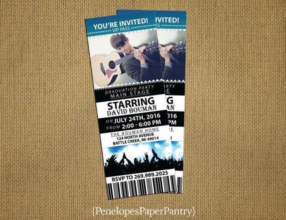 Graduation Invitation and Graduation Announcement, Concert Ticket - concert ticket birthday invitations