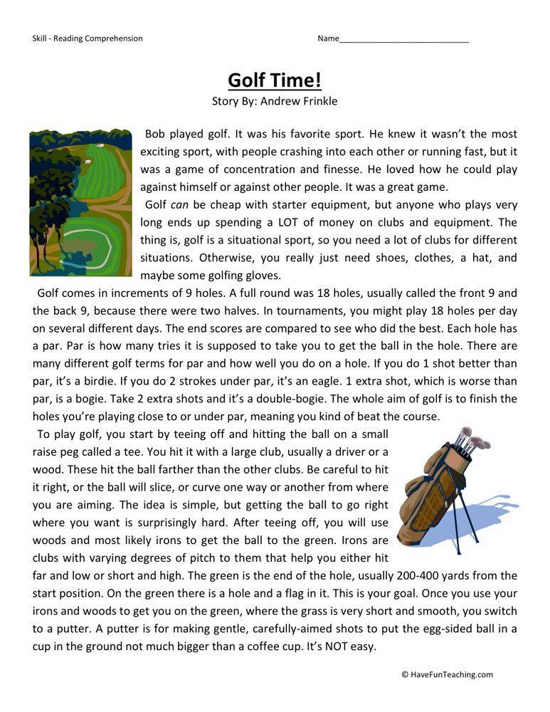 Reading Comprehension Worksheet Golf Time Reading Comprehension Worksheets Reading Comprehension Teaching Reading Comprehension