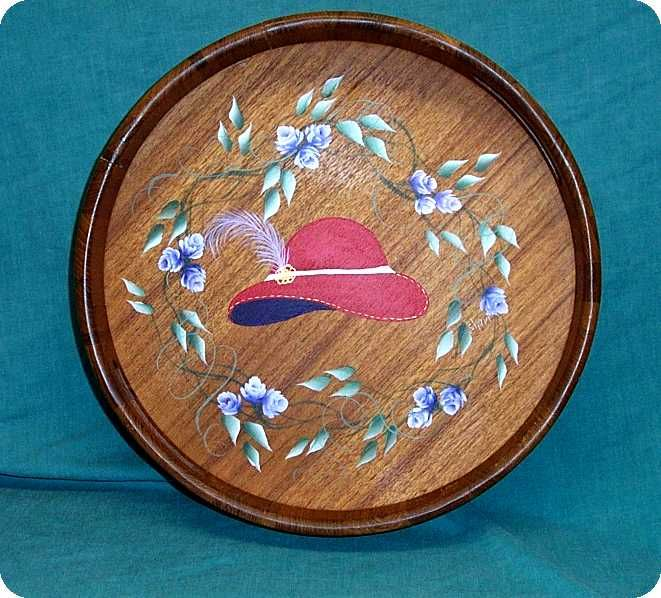 Hand Painted Red Hatter's Tray