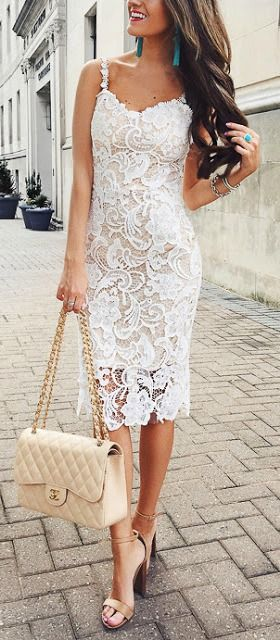 White lace dress.   ♦F&I♦