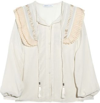 2baea56f8eb9ed See by Chloe Pleated silk crepe de Chine blouse - ShopStyle Button ...