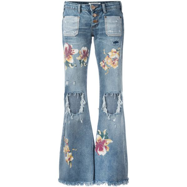 One Teaspoon distressed orchid print flared jeans ($159) ❤ liked on Polyvore featuring jeans, denim, blue, distressed jeans, ripped flare jeans, multicolor jeans, flare jeans and destructed jeans