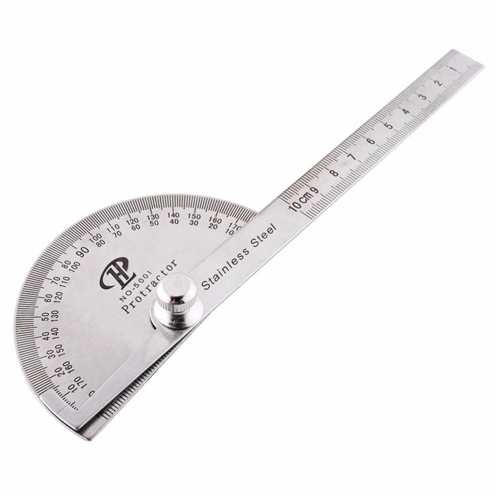 New Portable Multi Function Stainless Steel Round Head Angle Ruler Goniometer Mathematics Measuring Tool Rules