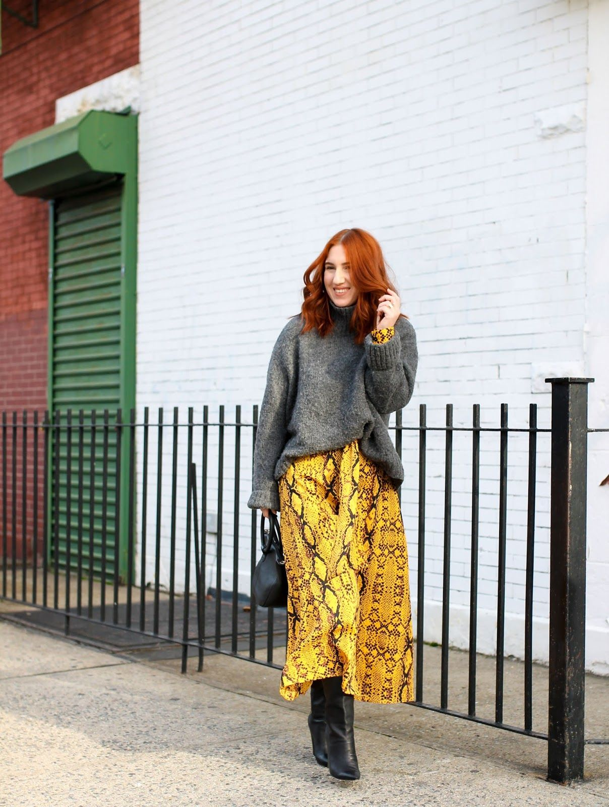 Easy Winter Layering Chunky Oversized Sweater And Asos Snakeskin Maxi Dress Layering Outfits Chunky Oversized Sweater Maxi Dresses Fall [ 1600 x 1208 Pixel ]