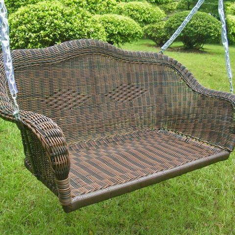 $231, overstock.com Rock away the afternoon on this resin wicker love seat — its stable build holds up to 400 pounds, so you can laze away, even with your little ones in your lap.