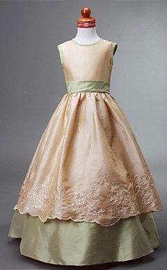 Ball Gown Jewel Floor-length Taffeta Flower Girl Dress