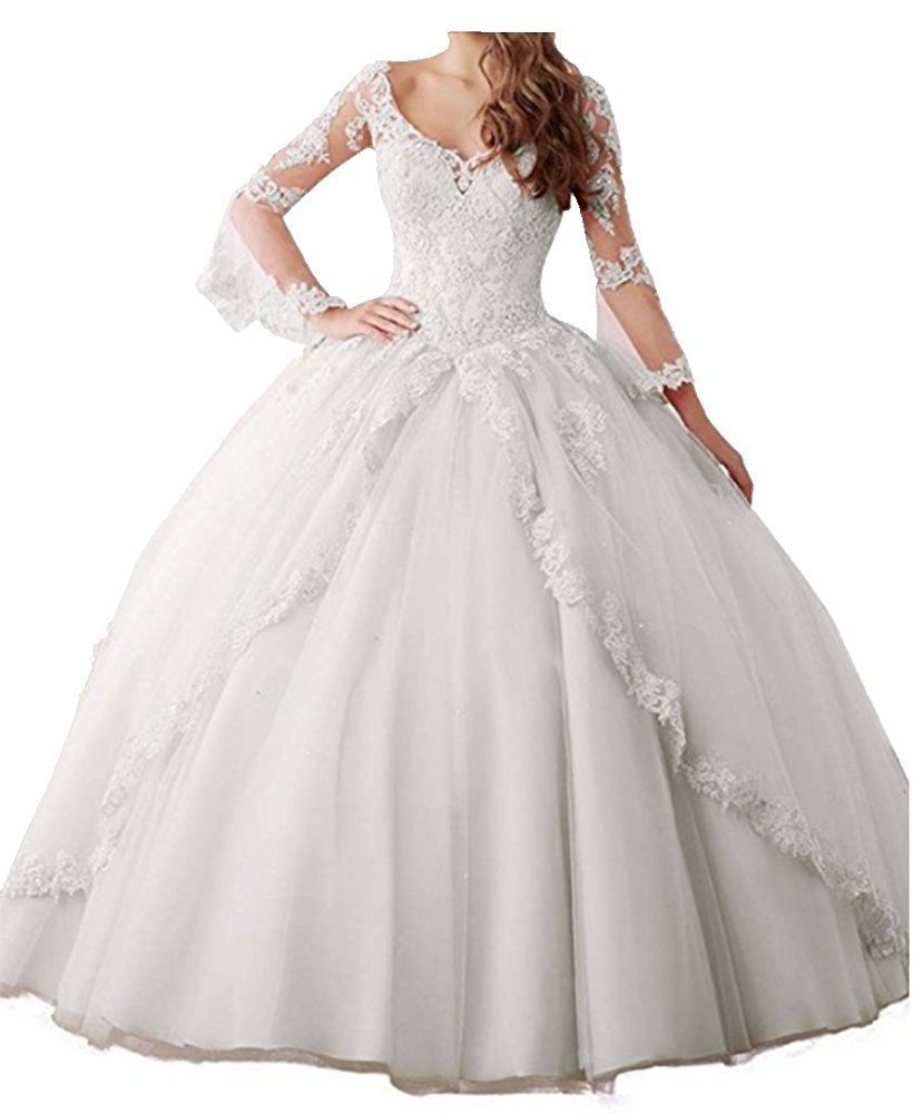 Womens appliques long sleeves ball gown sweet quinceanera prom