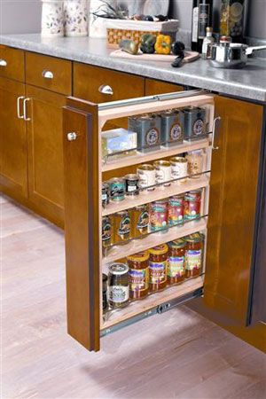 Pull-out hidden drawers make a huge difference in storage! Key is ...