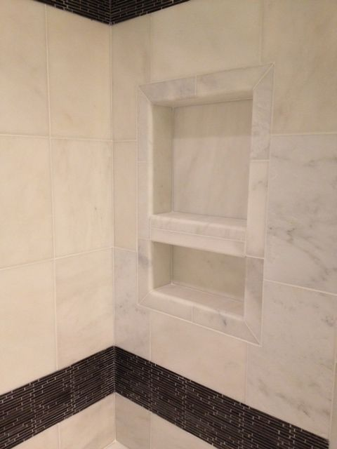 Shower Niche Tile Is 12x12 Grecian White Marble Mostly With Light Gray Veining Charcoal Mosaic Stripe