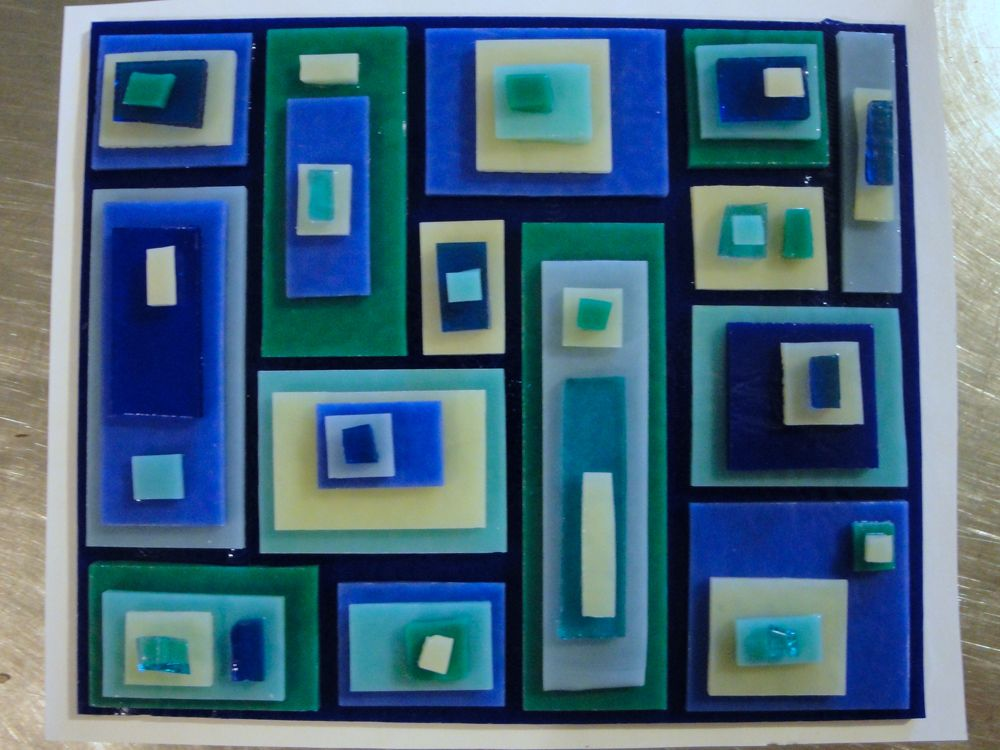Stacked Square Plate Color Reaction Blue Turquoise French Vanilla Before