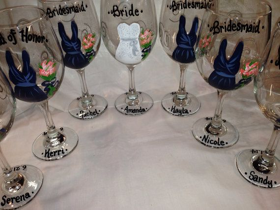 Wedding Wine Glasses Hand Painted Personalized by KyGirlShop