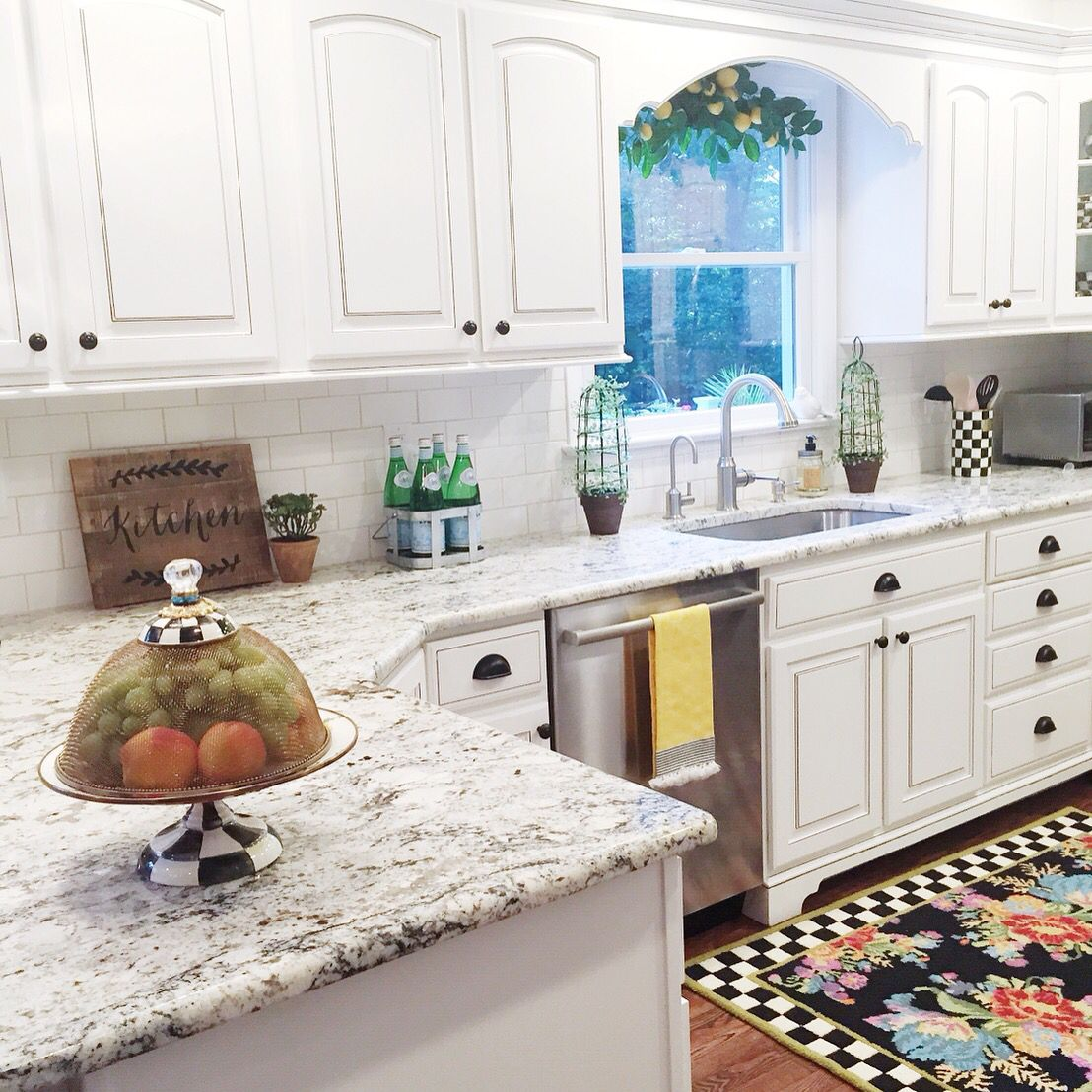 White kitchen mackenzie childs white granite kitchen for Mackenzie childs kitchen ideas