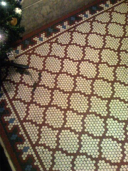 powder room old penny tiled floor more