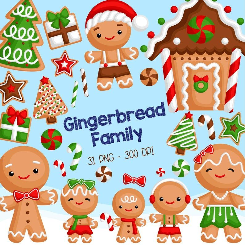 Gingerbread Family Clipart Christmas Cookies in Winter