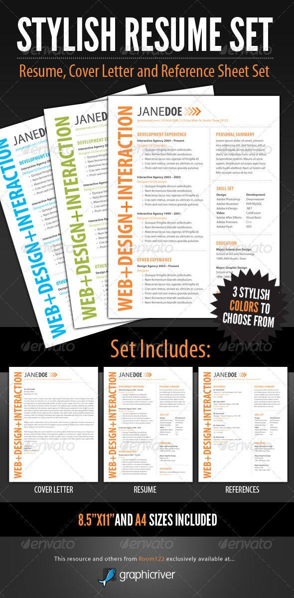 Stylish Resume Template Set Template Resume Cover Letters And