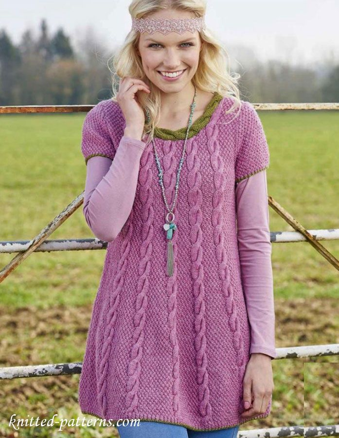 Knitting Sweater Patterns For Women : Cable tunic knitting pattern free Free knitting patterns Pinterest Knit...