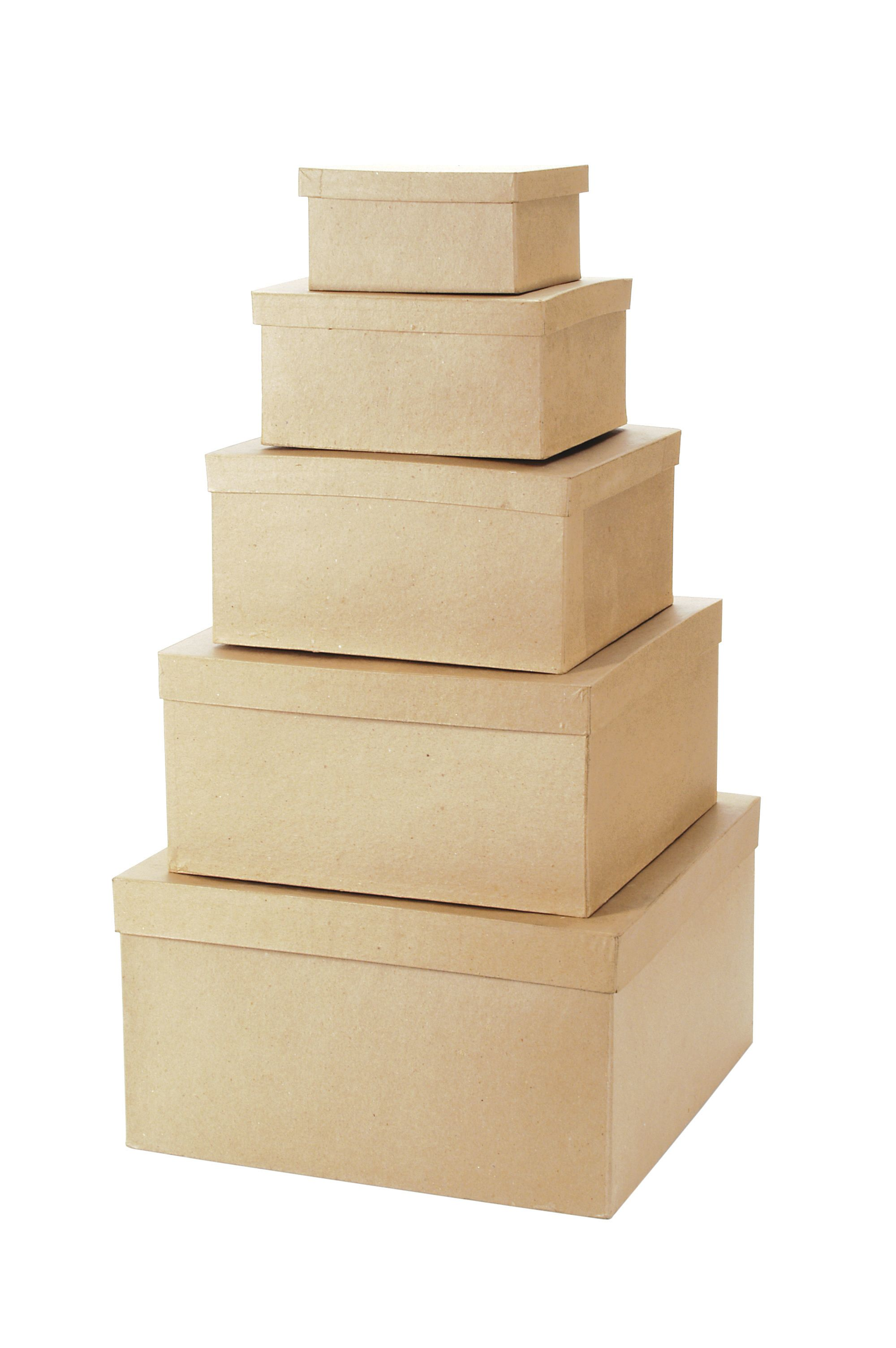 Darice Paper Mache Boxes with Lids, Square, Set of 5