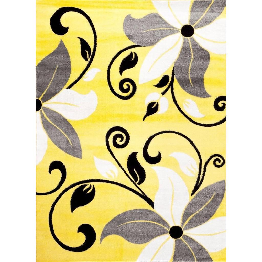 Persian Rugs Modern Floral Yellow White Gray Area Rug 5 2 X 7 2