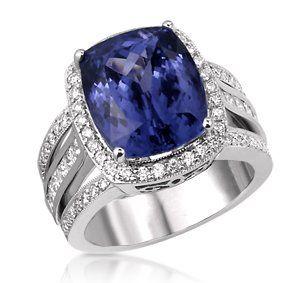 5 00 Ct Vintage Cushion Cut Tanzanite Ring With Diamond Halo And Princess Pave