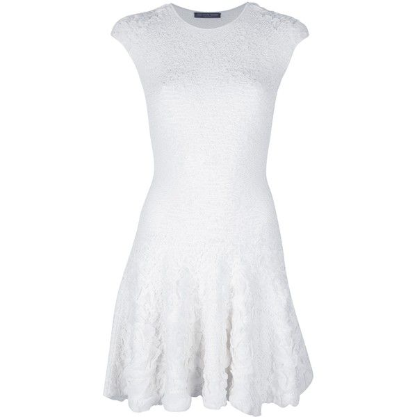 ALEXANDER MCQUEEN white textured dress ($1,985) ❤ liked on Polyvore