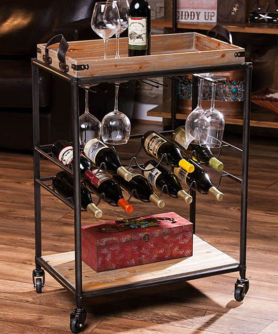 rustic wine cart zulily cheers wine cart bar cart kitchen cart. Black Bedroom Furniture Sets. Home Design Ideas