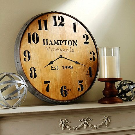 Personalized Wine Barrel Head Wall Clock At Wine Enthusiast