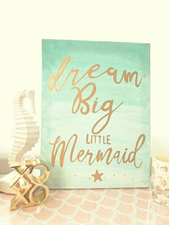 Hand Lettered Mermaid Nursery Wall Decor In Aqua Ombre And Gold Dream Little Beach Home For