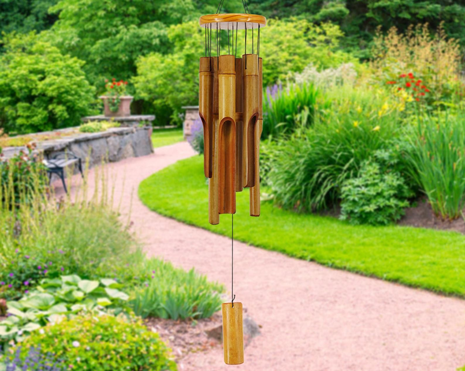 Photo of Bamboo Wind Chimes Outdoor,Wood Wind Chimes,30″ Classic Zen Garden Windchime,Home Décor for Patio, G
